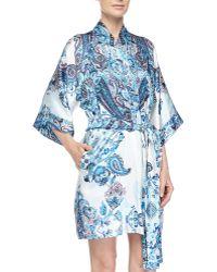 Christine - Printed Silk Short Robe - Lyst