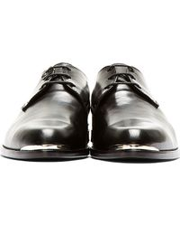 Diesel Black Gold - Black Leather Silver Plaque Derbys - Lyst