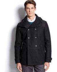 Calvin Klein Short Wool-blend Peacoat - Lyst