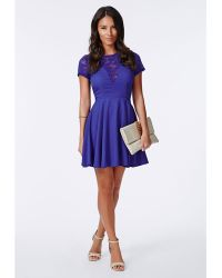 Missguided Erenie Lace Skater Dress Cobalt Blue - Lyst