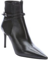 Prada Black Leather Vitello Pointed Toe Slip On Chelsea Booties - Lyst