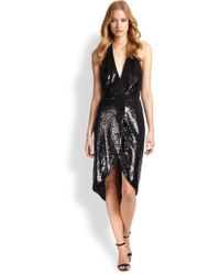 Halston Heritage Sequined Halter-Neck Dress - Lyst