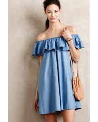 Alexa Chung For AG Ruffled Chambray Dress - Lyst