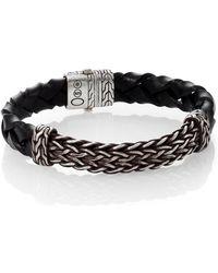 John Hardy Classic Chain Leather  Silver Bracelet - Lyst