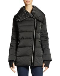 Vera Wang Quilted Asymmetrical Zip Puffer Jacket - Lyst