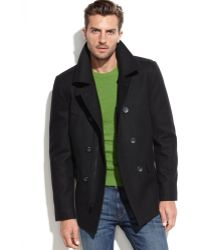 Guess Wool-Blend Military Peacoat - Lyst
