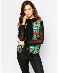 Madam Rage - Printed Front Jacket With Sheer Sleeves - Lyst