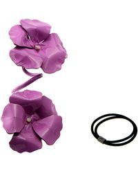 Colette Malouf Patent And Mop Hibiscus Bendable Pony Twister - Lyst