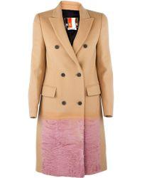 MSGM Camel Coat with Pink Fur Trim - Lyst