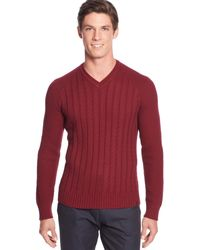 Calvin Klein V-Neck Cable Pullover Sweater - A Macy'S Exclusive - Lyst