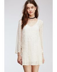 Forever 21 Embroidered Sheer-Woven Shift Dress - Lyst