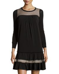 RED Valentino Lace-Inset Pleated Swing Dress - Lyst