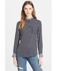 Theory 'Ziria' Stripe Silk Shirt - Lyst