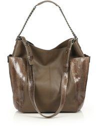 Jimmy Choo Anna Leather & Snakeskin Shoulder Bag - Lyst