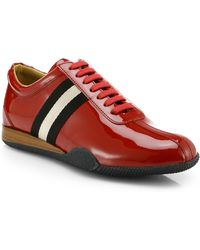 Bally Patent Leather Lace-Up Sneakers - Lyst
