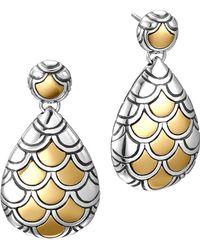 John Hardy Naga Gold Silver Pearlshape Earrings - Lyst