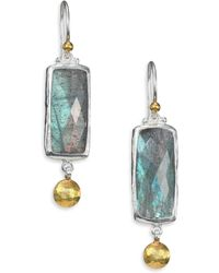 Gurhan Lentil Labradorite, 24K Yellow Gold & Sterling Silver Dangling Storm Drop Earrings - Lyst