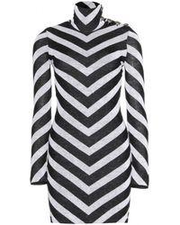Balmain Knitted Sweater Dress - Lyst