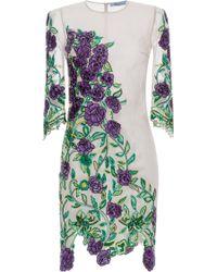 Blumarine Rose Embroidered Sheath Dress - Lyst