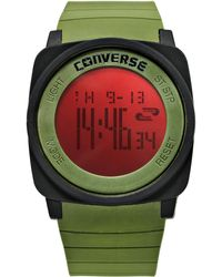 Converse - Unisex Digital Full Court Army Green Silicone Strap 45mm Vr034305 - Lyst