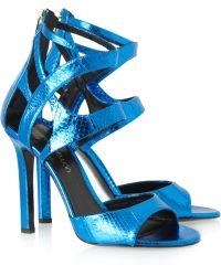 Tamara Mellon Fatale Metallic Elaphe Sandals - Lyst