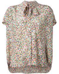 Saloni Pussy Bow Leaf Print Shirt - Lyst