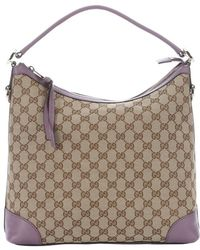 """Gucci Ebony And Lilac Canvas And Leather """"Miss Gg Original' Convertible Hobo Bag - Lyst"""