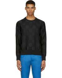 Alexander McQueen Black Textured Skull and Spot Sweatshirt - Lyst