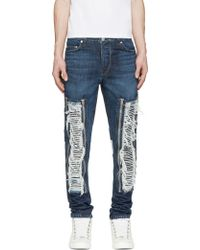 Hood By Air Blue Shredded Zip_Off Jeans - Lyst