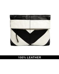 Asos Premium Oversized Leather Striped Foldover Clutch Bag - Lyst