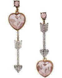 Betsey Johnson Heart and Arrow Mismatch Earrings - Lyst