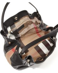 Burberry | Maidstone Medium Leather & House Check Canvas Satchel | Lyst