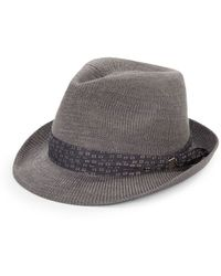 Vince Camuto Gray Woven Fedora - Lyst