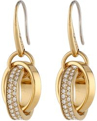 Michael Kors Collection Pave Charm Fishwire Earring - Lyst
