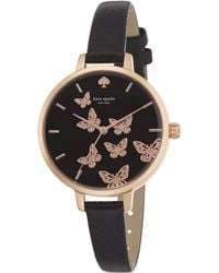 Kate Spade Novelty Metro Butterfly Enamel, Rose Goldtone Stainless Steel & Saffiano Leather Strap Watch pink - Lyst