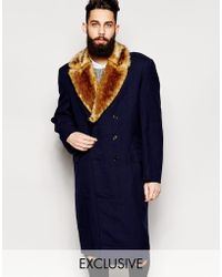 Reclaimed (vintage) Military Overcoat With Faux Fur Collar - Lyst