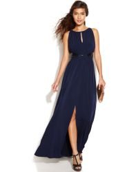 JS Boutique Sleeveless Embellished Keyhole Gown - Lyst