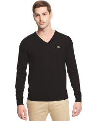 Lacoste Big and Tall Solid V-neck Jersey Sweater - Lyst