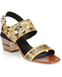 Fendi Cara Snake-Embossed Leather Block-Heel Sandals - Lyst