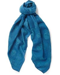 Alexander McQueen Woven-skull Wool and Cotton-blend Scarf - Lyst