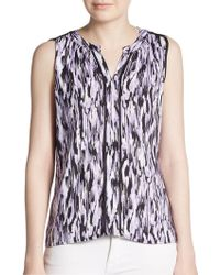 Calvin Klein Abstract Print Pleated Blouse - Lyst