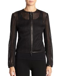 Ralph Lauren Black Label Striped Leather-Trim Jacket - Lyst