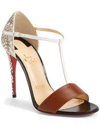 Christian Louboutin Women'S Genuine Snakeskin & Leather T-Strap Sandal - Lyst