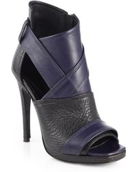 McQ by Alexander McQueen Lara Bicolor Leather Open-toe Ankle Boots - Lyst