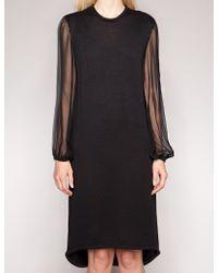Pixie Market Silk Chiffon Sleeve Dress - Lyst