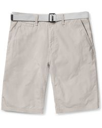Calvin Klein Micro Ripstop Solid Belted Cotton Shorts gray - Lyst