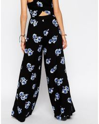 Asos Reclaimed Vintage Co-Ord Wide Leg Trousers In Blue Floral Print - Lyst