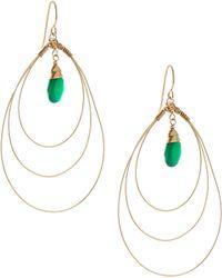 Rafia - 3-hoop Teardrop Earrings W/ Green Onyx Center - Lyst