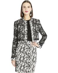 Oscar de la Renta Cropped Lace And Tweed Jacket - Lyst