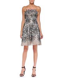 Lela Rose Strapless Floral Appliqué Dress - Lyst